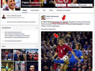 Lo scivolone di Cannavaro su Facebook