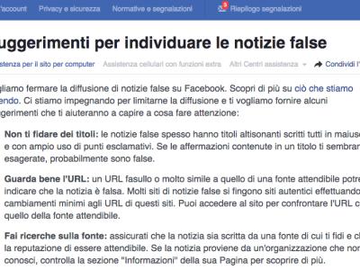 Fake News: Facebook lancia in Italia il decalogo per mettere in guardia gli utenti